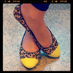 Leopard flats + neon toe-caps = your go-to ballets, only better. Visit shoesofprey.com