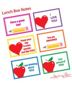 lunch box love notes...FREE printables