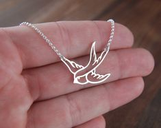Small sterling silver bird in flight necklace by jersey608jewelry, $27.00