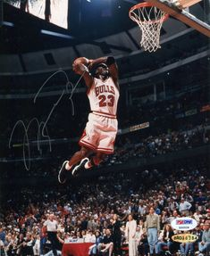 Michael Jordan Signed Photo Michael Jordan Images, Michael Jordan Sign, Michael Jordan Basketball, Jordan 23, Nfl Football Players, Nba Players, Basketball Players, Slam Dunk, Michael Jordan Dunking