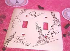 Eiffel Tower Hand Painted Decorative Double by parischicboutique