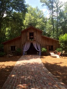 Entrance to barn and ceremony