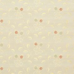 Spring Vine Coral and Gold Floral  Brocade Upholstery Fabric
