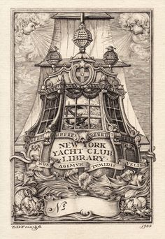New York Yacht Club Library, engraved by E.D.French, 1900