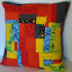 """Wowza! Brights and Black Multi-color Freestyle Patchwork  Pillow Cover (M4) - Fits 16"""" x 16"""" Insert"""
