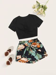 Girls Twist Wrap Top & Tropical Tie Front Shorts Set – Kidenhouse fitness clothes clothes cute clothes for women clothes lululemon Cute Teen Outfits, Cute Comfy Outfits, Teenage Outfits, Pretty Outfits, Stylish Outfits, Batman Outfits, Amazing Outfits, Girls Fashion Clothes, Summer Fashion Outfits