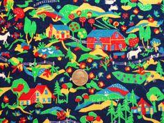 amazing farm print vintage cotton corduroy by vintagetouchtoo