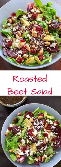 Roasted Beet Salad with homemade Honey Balsamic Vinaigrette. A flavorful and healthy salad that is anything but boring! Roasted Beet Salad, Beet Salad Recipes, Veggie Recipes, Vegetarian Recipes, Cooking Recipes, Healthy Recipes, Roasted Beets Recipe, Smoothie Recipes, Salad Bar