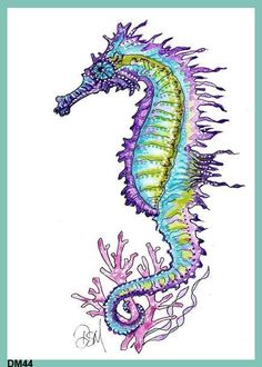 Seahorse Art Print Fabric Block Fat Quarter by QUILTFABRICBLOCKS, $11.99