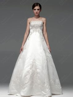 BallGown Strapless Satin Floor-length Ivory Embroidery Wedding Dresses at Pickeddresses.com