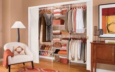 Here's one low budget closet organization idea - use a wire shelf organizer vs. a laminate system. Click through to get 4 other low budget ideas in this article. Craft Closet Organization, Organization Ideas, Organizing, Bedroom Closet Design, Diy Bedroom, Bedroom Closets, Bedrooms, Diy Wardrobe, Trendy Bedroom