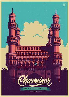 On behance celebrating india art direction illustration city retro, pop &am Indian Illustration, City Illustration, Graphic Design Illustration, Digital Illustration, Gfx Design, India Art, India India, Postcard Design, Design Graphique