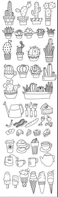 Doodles - Cactus, tea/coffee, gardening, and food doodle art.