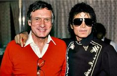 MJ and famous businessman Hugh Hefner backstage during the 1984 Jacksons Victory Tour