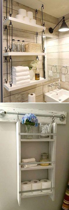 Подвесные полочки в ванной комнате