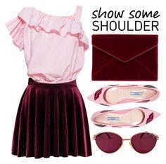 """Show Some Shoulder"" by minchu ❤ liked on Polyvore featuring Rebecca Minkoff, Simonetta Ravizza, Prada, vintage, Pink, coldshoulder, offshoulder and showsomeshoulder"