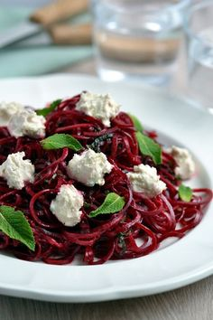 SPIRALIZER RECIPES BEETROOT RIBBON SALAD WITH MINT & CASHEW CHEESE - COCONUT AND BERRIES