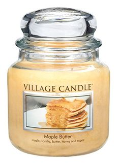 Village Candle Maple Butter 16 oz Glass Jar Scented Candle, Medium:   Layering notes of Maple and butter over sugary vanilla, this candle smells just like a warm stack of Pancakes topped with melted butter and Maple syrup. There's no better way to start your day than with this lick-your-fingers sweet aroma.