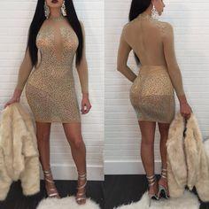 Crystal Sexy Transparent Mesh Short Bodycon Dress