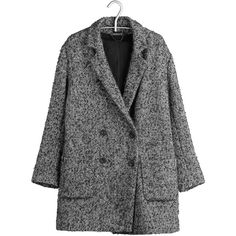IKKS Manteau oversize Gris ($245) ❤ liked on Polyvore featuring outerwear, coats, jackets, coats & jackets, bitume, ikks, slim fit coat, oversized coat, leather-sleeve coats and padded coat