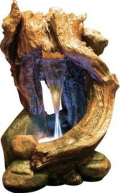 Alpine WIN292 Curved Tree Trunk Rainforest Fountain with LED Light