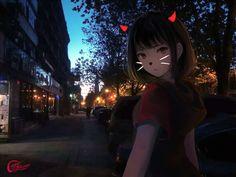 Kawaii Anime Girl, Anime Art Girl, Manga Art, Anime Devil, Real Anime, Mood Wallpaper, Wallpaper Backgrounds, Tokyo Ghoul, Anime Black Hair