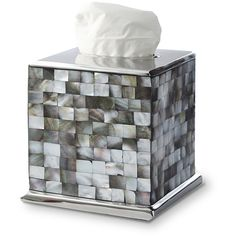 Julia Knight Classic Tissue Box - Tahitian Pearl ($166) ❤ liked on Polyvore featuring home, bed & bath, bath, bath accessories, silver, pearl bathroom accessories and julia knight