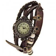 $5.22 Visec Quartz Watch with 12 Numbers Indicate Dial Leather Watchband for Women - Dark Brown