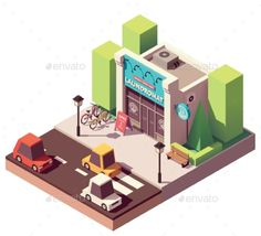 Buy Vector Isometric Laundromat by on GraphicRiver. Vector isometric laundromat building with signboard and bicycle parking Free Vector Images, Vector Free, Isometric Art, Low Poly 3d, Minecraft Designs, Game Assets, Game Design, Game Art, Bicycle