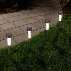 Add visual interest to your lighting story with Pure Garden Textured LED Solar Path Lights - Set of 6 . These path lights are constructed from durable. Solar Light Bulb, Solar Path Lights, Solar Light Crafts, Solar Powered Lights, Solar Led, Light Led, Garden Path Lighting, Landscape Lighting, Outdoor Lighting