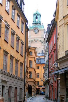 I've climbed this street, many times, on the way home from the ferry, after school. Gamla Stan, Stockholm, Sweden.