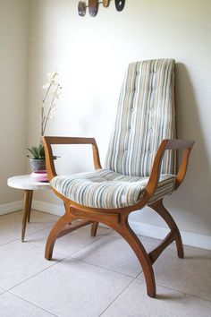 Mid Century High Back Chair - Vintage 1960s Accent Chair - Retro Tuffed High Back Chair - Original Upholstery