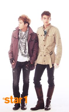 SHINee Jonghyun and Minho | I don't know what it is about the boots, but I think more guys need to wear them. Boots and nice jackets.