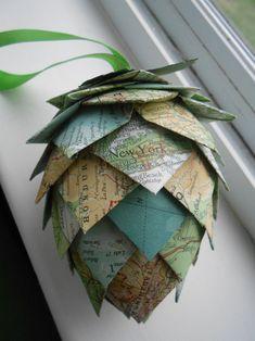 This unique paper pinecone ornament measures over 5