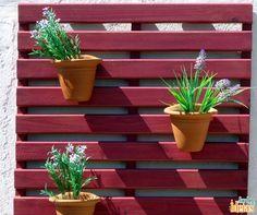 Se for usar pallets ou estrados para fazer jardins verticais, não deixe de fazer uma boa limpeza antes. E uma boa mão de tinta, é claro, para dar um tom mais alegre e colorido. :D