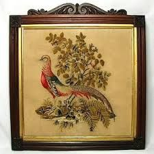 Antique Needlepoint Tapestry - Exotic Bird in Rosewood frame.