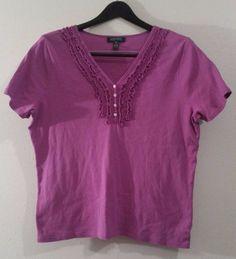 comfy cute RALPH LAUREN purple top size 1X good condition 100% cotton #RalphLauren #Blouse