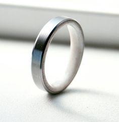 Elk antler lined wedding band, set it titanium, silver or gold.