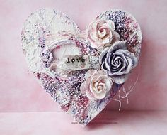Valentine Heart, Valentine Crafts, Valentines, Altered Canvas, Altered Art, Mix Media, Mixed Media Canvas, Mixed Media Art, Diy Shadow Box