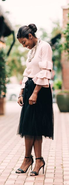 Winter Style. Pink tiered ruffle sleeve sweater from SheIn Black tulle skirt from Francesca's, black sparkle strap heel from Nine West + Give Away http://Sidelinesocialite.com