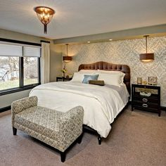 Master Suite Remodel - traditional - bedroom - minneapolis - by Che Bella Interiors Pink Master Bedroom, Accent Wall Bedroom, Bedroom Ceiling, Master Bedroom Design, Master Suite, Bedroom Fun, Bedroom Photos, Ceiling Lamp, King Bedroom