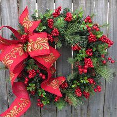 Noël rouge Couronne de baies, couronne de Noël, rouge Berry Couronne, Couronne Noël élégance, couronne de houx arc