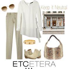 Etcetera | Holiday 2015: BREATHE side buckle ivory tunic, AZTEC foil printed ecru jean. www.etcetera.com.