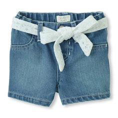 Eyelet Sash Denim Shorts