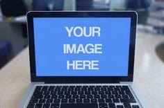 Macbook Laptop On Office Desk Mockup Template | ShareTemplates