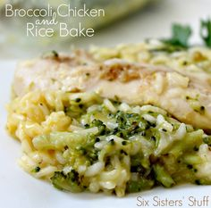 Broccoli, Chicken & Rice Bake from Six Sisters' Stuff Rice Bake Recipes, Casserole Recipes, Cooking Recipes, Healthy Recipes, Noodle Casserole, Potato Casserole, Cowboy Casserole, Chicken Broccoli Rice Casserole, Zucchini Casserole