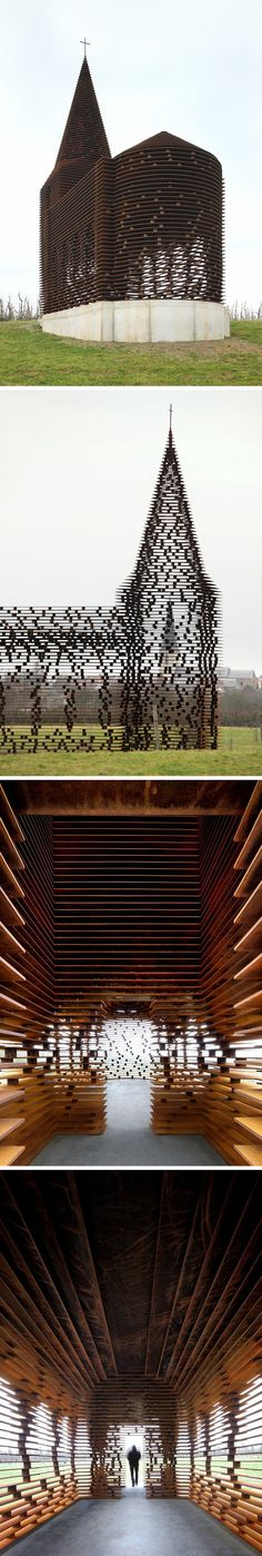 """From far away, this church looks like any of the other Christian houses of worship that dot the Belgian region of Haspengouw. But step closer and the building slowly dissolves into the landscape.    """"Reading between the Lines"""" by Gijs Van Vaerenbergh. Photos by Filip Dujardin."""