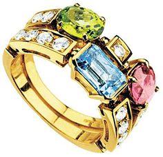 Bvlgari Allegra two-band 18ct yellow-gold, pink tourmaline, peridot, blue topaz and pavé #diamond ring