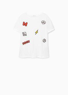 Koszulka z ozdobnymi łatami | MANGO