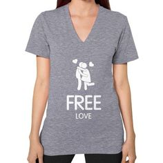 Free Love Woman's T-shirt, American Apparel T-shirt, Custom Tee, Love t shirt, Kiss t shirt (White Icon)
